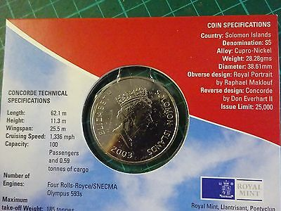 CONCORDE $5 Soloman Islands Coin Sealed In Pack