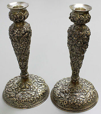 """Jenkins & Jenkins, Baltimore MD Floral Repousse Sterling Silver 10"""" Candlesticks"""