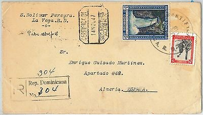 64645 -  DOMINICANA - POSTAL HISTORY - COVER to SPAIN 1947 - WATERFALL Palm Tree