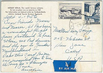 64659 -  ICELAND - POSTAL HISTORY -  POSTCARD to USA  1956 - WATERFALLS