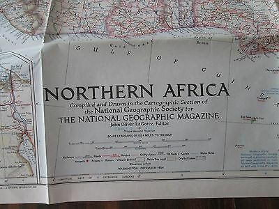 Northern Africa National Geographic Large Map December 1954