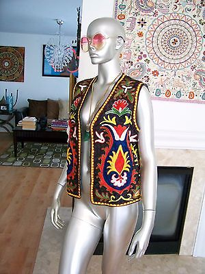 Vtg Rare HIPPIE Boho HENDRIX Festival WOODSTOCK Embroidered ETHNIC Tribal VEST!!