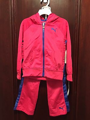 PUMA Girls Toddler 2 piece Sweatsuit Athletic Outfit Pink & Purple  4T- NWT