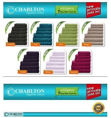 7 Pce Set 100% EGYPTIAN COTTON Towel Towels Bath Towels Hand / Face Washers Mat