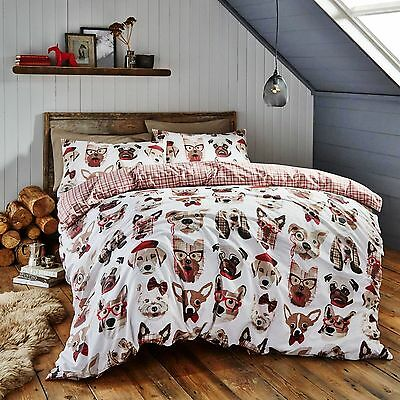 Catherine Lansfield Dapper Dogs Reversible Quilt / Duvet Cover Bedding Set