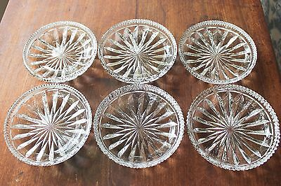 "Rare Full Set 12 Vintage 6"" Side Plates Dish Cut Lead Crystal Glass Star Design"