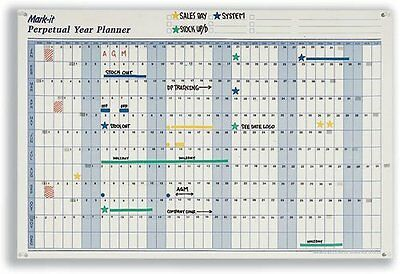 Mark-it Perpetual Year Planner Laminated with Repositionable Date Strips W900xH6