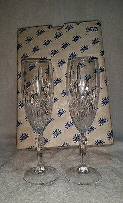 """Princess House """"Highlights"""" Leaded Crystal Champagne Flutes Set Of 2 #955"""
