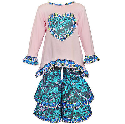 AnnLoren Toddler Girls Boutique 2/3T Pink & Blue Heart Tunic and Pant Set