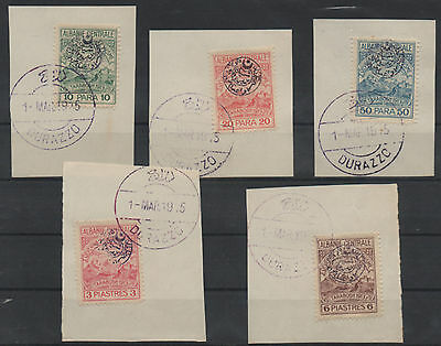1915 Central Albania  Local Issue Complete Set Michel : 17/ 21 Used On Piece