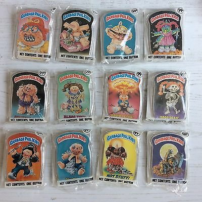 Vtg Nos Mint 12x Garbage Pail Kids Button Badges Topps 1986 Full Set Sealed Rare