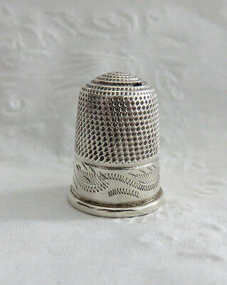 ANTIQUE 1800s TALL STERLING SILVER THIMBLE DAMAGE