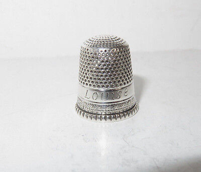 """Antique Goldsmith Stern Sterling Silver Thimble Size 8 Engraved """"louise"""""""