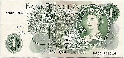 Bank of England One Pound Banknote London Queen Elizabeth II J.S. Fforde Signed