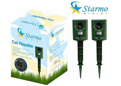 2 x Starmo Ultrasonic Cat Fox Dog and Rodent Repeller with PIR Motion Sensor