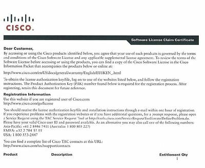 New CISCO L-FLS-ASR1001-5G= Upgrade from 2.5 Gbps to 5Gbps E-DeliveryPAK