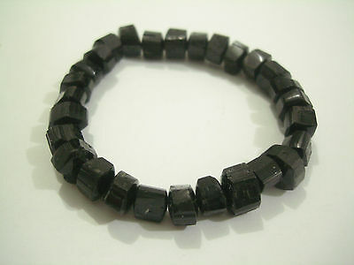 Bracelet Black Tourmaline Irregular Beads 10x8mm 6.5""