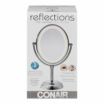 Conair Reflections LED Lighted Collection Mirror Polished Chrome Battery Operate