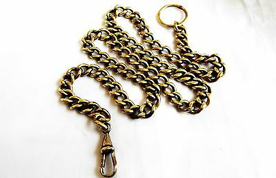 Antique, Yellow Metal Possibly Brass Albert Chain for Pocket watches