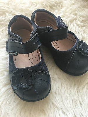 Pediped Baby Girl Leather Navy Blue Shoes Size 22 Used