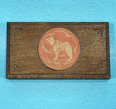 Antique Swiss Black Forest Wood Carving STAMP BOX Bear Brienz c1910