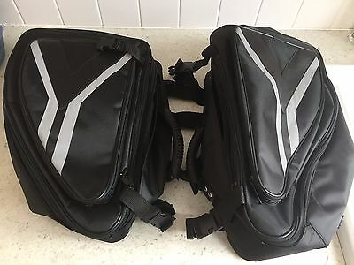 Luggage Motorcycle Motorbike Panniers Expandable Black + covers NEW