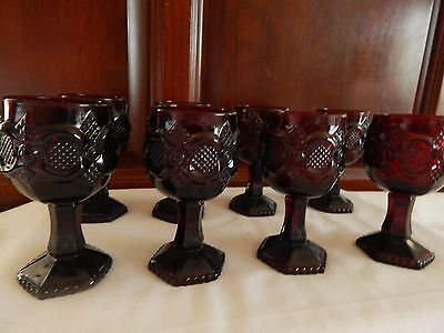 """(8) Avon Cape Cod 1876 Ruby Red Salad Cordial Goblets 4 1/2"""""""