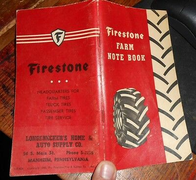 Clean Full No Writing 1954 55 56 Firestone Farm Notebook Longnecker's Manheim PA