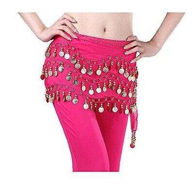 Rose Red Belly Dance Costume Hip Scarf Triangle hip Belt Skirt Gold Coins US
