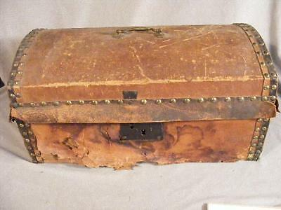 21 Inch Antique Leather Bound Dome Trunk Ca 1850