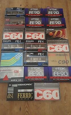 BLANK CASSETTE TAPES 60:90 (×20) : NEW & SEALED (Cracked cases)