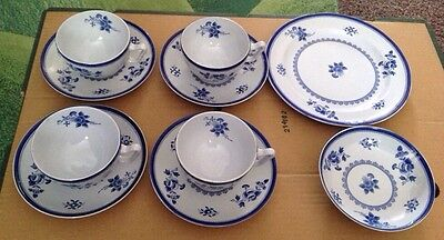 Copeland Spode Blue Gloucester 4 Tea Cups And Saucers + Plate