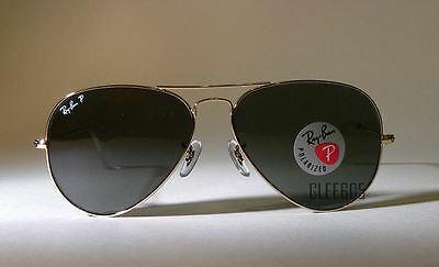 New Authentic Ray-Ban 3025 RB3025 Polarized 001/58 Gold Aviator 58m Sunglasses