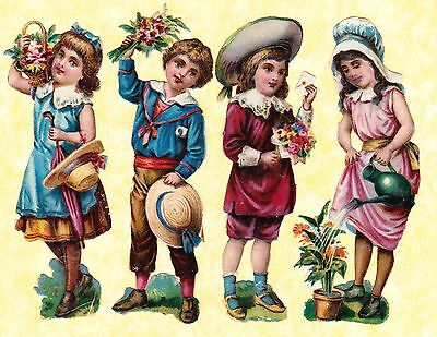 Victorian Scraps,children With Flowers Approx 12 X 3 Cm
