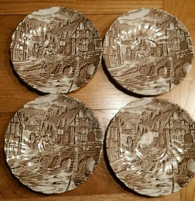 4 Brown Alfred Meakin 'The Post House'  tea saucers.