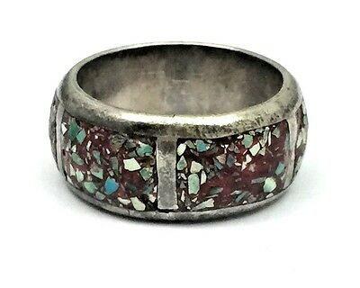 Large Southwestern Sterling Silver Custhed Turquoise Men's Ring