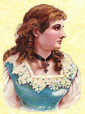 Victorian Scrap, Girl In Blue Dress With Lace, Approx 12 X 9 Cm
