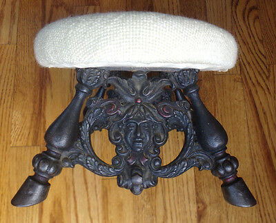 Antique Victorian Foot Stool - Face (Green Man?) - Hooves - Cast Iron