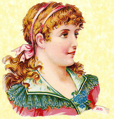 Early 20Th C Scrap, Girl With Pink Ribbons In Hair , Approx 12 X 10 Cm