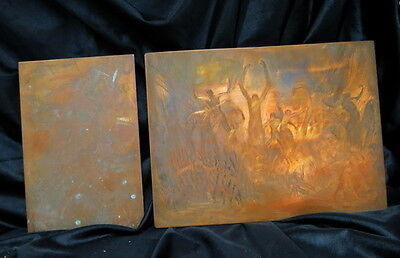 2 copper printing plates 1880 era / one nude & a depiction of bodies in Hell OLD