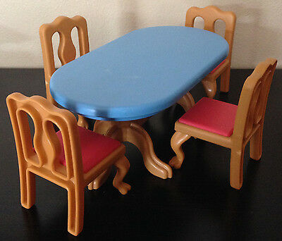 Vintage Little Tikes Grand Mansion Dollhouse Dining Room Furniture~Table Chairs