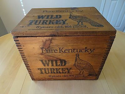 Vintage Pure Kentucky Wild Turkey Wood Wooden Crate Box W/lid