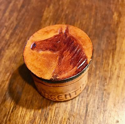 Small Leather Trinket Box From Argentina Horse Motif