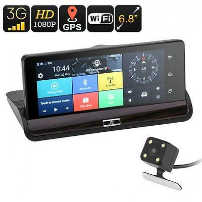 Android Car DVR System - 6.8 Inch Touch Screen, Dual-Camera, Android 5.0, 3G Sup