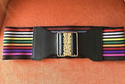 Express Belt Large Stretch Rainbow Colored Black Leather Gold Buckle NWT Size M