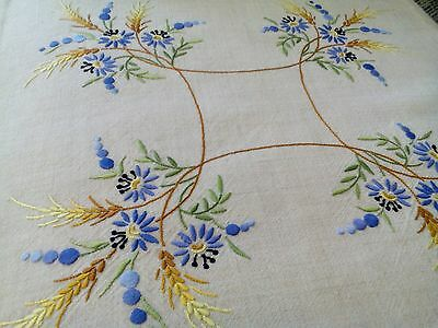 Pair of pretty vintage hand embroidered floral linen cushion covers vgc