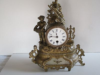 FRENCH FIGURAL ANTIQUE 8 DAY TIMEPIECE c1900