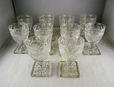 10 Small Antique Crystal Cut Glass Wine Goblets Diamond Pattern