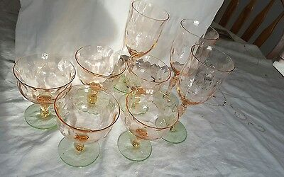 8 1920s /30s green and pink stemmed Tiffin goblets W/etched pattern