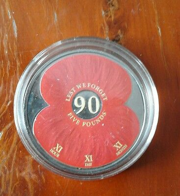 £5 Coin 2011 Bailiwick of Jersey  Colour Poppy 90 years